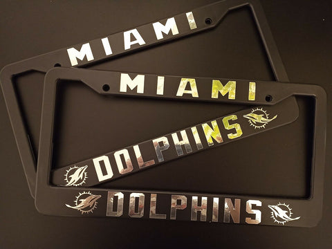 - SET of 2 - Miami Dolphins Plastic License Plate Frames