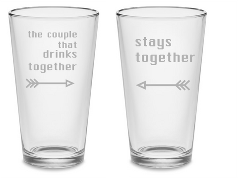 SET Couple Drinks Together Custom Pint Beer Glasses 16 oz