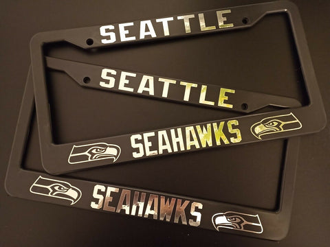 - SET of 2 - Seattle Seahawks Plastic License Plate Frames