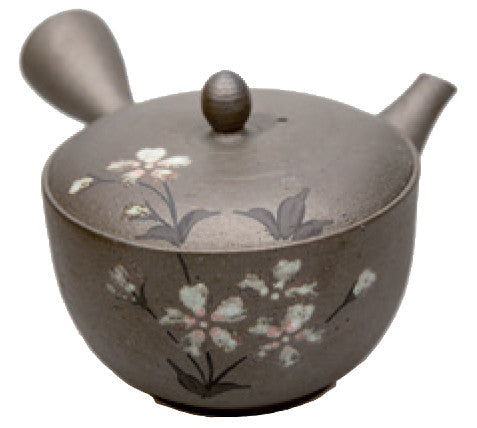 Metallic brown handmade teapot with Sakura design