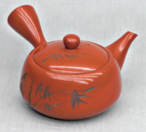 Orange Teapot with Bamboo design