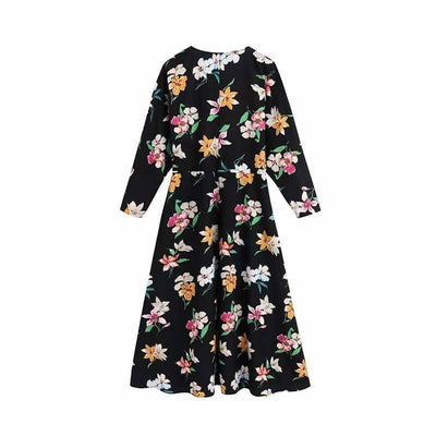 Vadim women vintage floral pattern midi dress V neck long sleeve female casual side zipper mid calf dresses vestidos QD266