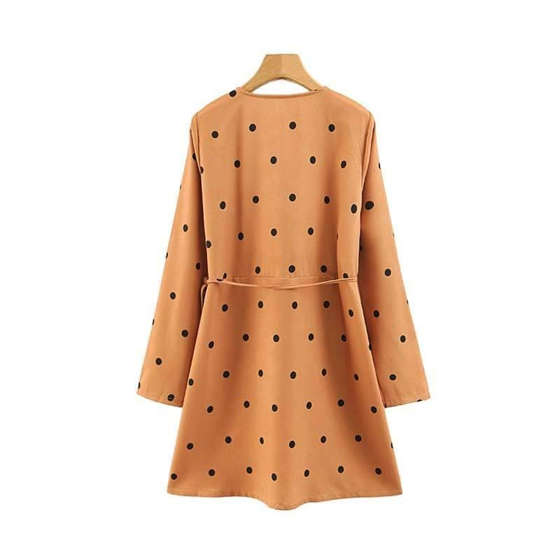Vadim women vintage dots print wrap dress bow tie long sleeve female casual mini dresses retro chic straight vestidos QB485