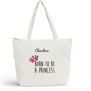 Sac de plage PRINCESS Pink Coton BIO 🍀 - I'm Born To Be