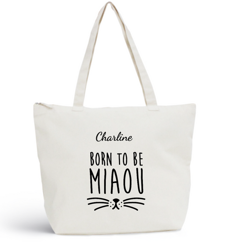 Sac de plage MIAOU Coton BIO 🍀 - I'm Born To Be