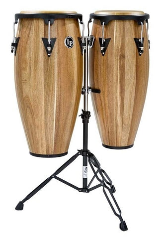 Latin Percussion Aspire Jamjuree Wood Conga Set with Double Stand - Audiofeen