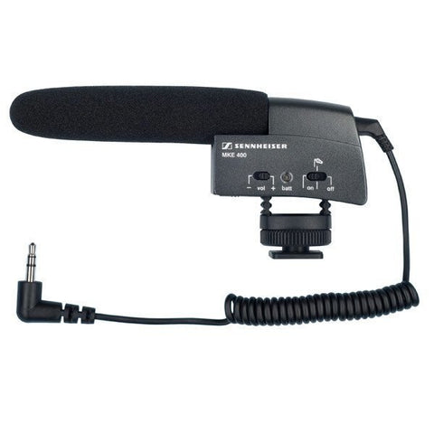 "SENNHEISER MKE 400 - Shotgun microphone (supercardioid, condenser) for cameras with hot shoe mount and 1-8"" (3.5 mm) jack. Includes (1) 1-8"" (3.5 mm) TRS Mini cable, (1) AAA Alkaline battery and (1) foam windscreen - Audiofeen"