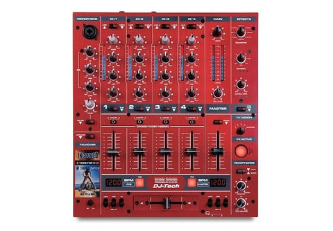 DJ-Tech DDM-3000R Professional DJ Mixer with Effects and BPM - Red - Audiofeen