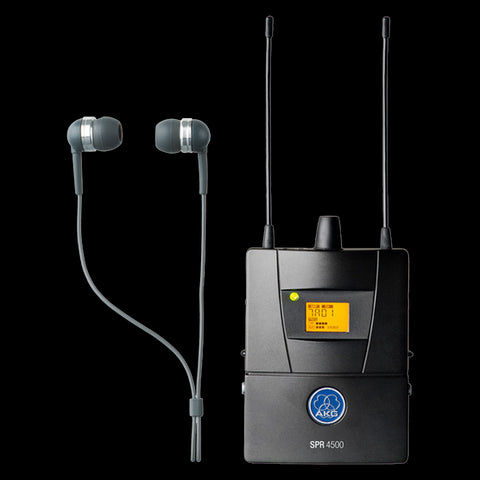 AKG 3096H00300 - SPR4500 Set BD8 SPR4500 IEM Diversity bodypack receiver with rugged metal housing, new reference radio electronic design ensures reliable transmission, Cue mode, radio signal attentuator. Stereo, Mono and Dual mode. IP2 headphones an - Audiofeen