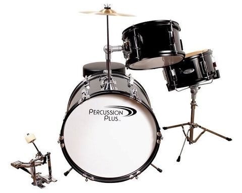Percussion Plus 3-Piece Junior Drum Set - Black - Audiofeen