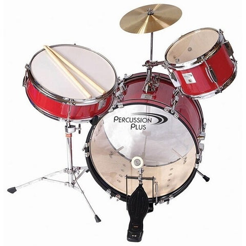 Percussion Plus 3-Piece Mini Drum Set - Wine Red - Audiofeen