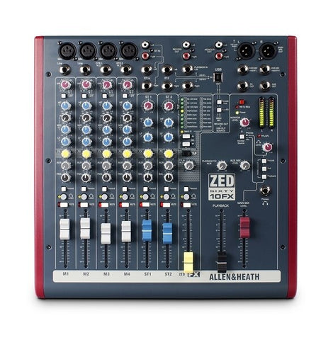 Allen and Heath ZED60-10FX 6 Channel Mixer with Digital Effects and USB Connectivity - Audiofeen