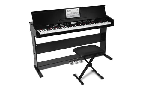 Alesis VIRTUEBLACKXUS - 88-key, Hammer-action home digital piano with 200+ sounds, stand and bench. - Audiofeen