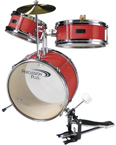 Percussion Plus 3-Piece Junior Drum Set - Wine Red - Audiofeen