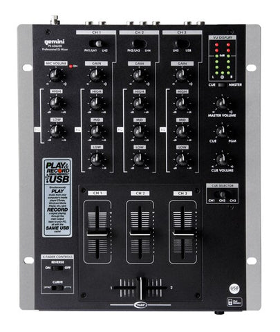 Gemini PS-626USB Pro 3-Channel Stereo Mixer with USB - Audiofeen