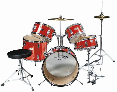 Percussion Plus 5-Piece Junior Drum Set - Red - Audiofeen