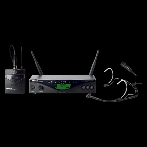 AKG 3309H00380 - WMS470 PRES SET BD8 50mW - EU-US-UK Wireless bodypack microphone system, SR470 stationary receiver, PT470 bodypack transmitter, C555L headworn microphone, CK99L lavalier microphone, tie clip, belt clip, LR6 AA battery, power supply a - Audiofeen
