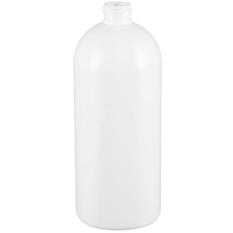 32 oz. White HDPE Plastic Bullet (Cosmo Round) Bottles (28-410)