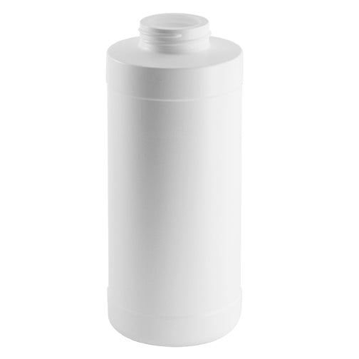 16 oz. White HDPE Plastic Squat Cylinder Bottles (38-400)