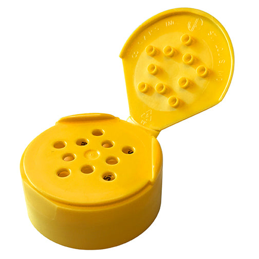 43-485 Yellow Spice Dispensing Caps, Flip Top - Sift, .125 Holes w/ HIS Liner-underside