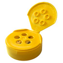 43-485 Yellow Dispensing Spice Caps, Flip Top - Sift, .250 Holes w/ HIS Liner