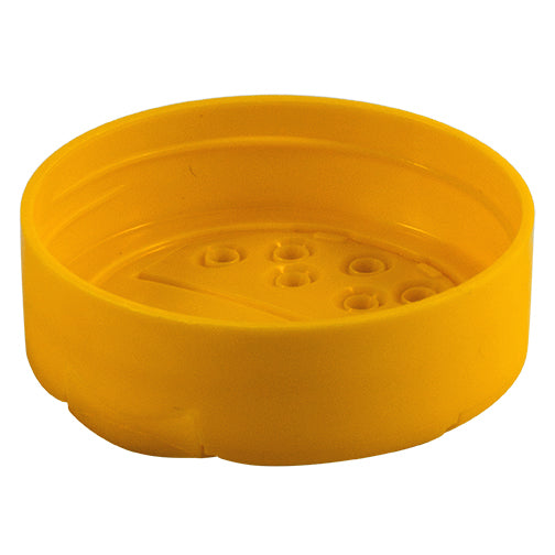 63mm (63-485) Yellow Polypropylene (PP) Plastic Spice Caps, Flip Top - Sift & Spoon, .200 Holes (Unlined)