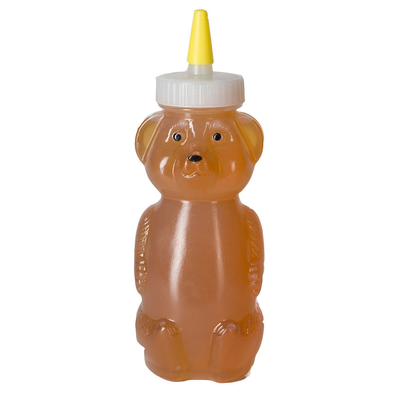 8 oz. Natural LDPE Plastic Honey Bear Bottles (38-400) Printed with optional yorker cap