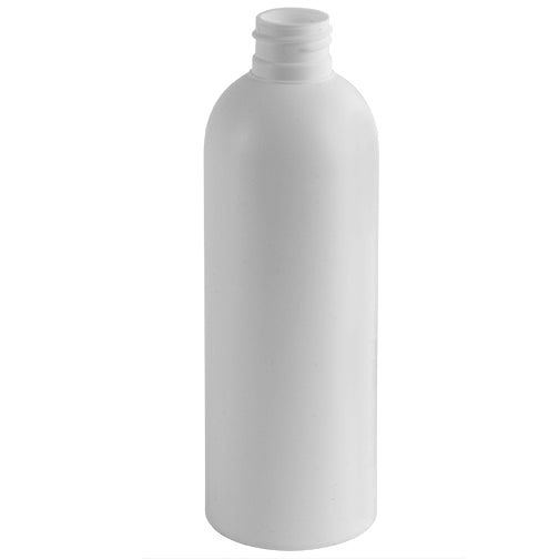 8 oz. White HDPE Plastic Bullet (Cosmo Round) Bottles (24-410)