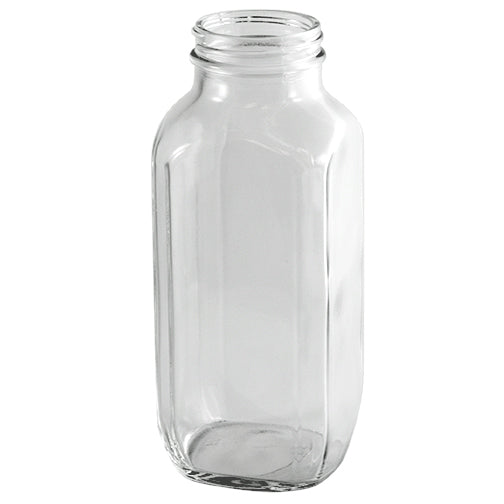 16 oz. Clear French Square Glass Bottle (48-400)