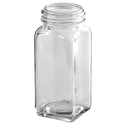 4 oz. Clear Glass Square Spice Jars (43-485)