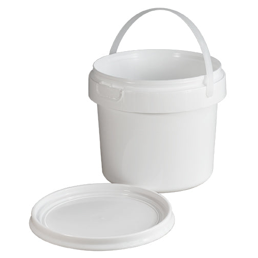 Half (.5) Gallon White HDPE Plastic Tamper Evident Pails w/Snap Lid