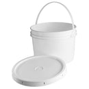 1 Gallon White HDPE Plastic Industrial Pail with Handle and Gasket Lid