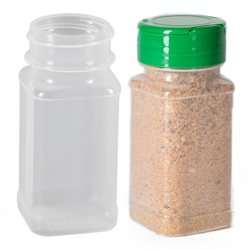 4 oz. Square Plastic Spice Bottle (PP) with and without Green Dispensing Spice Cap