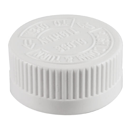 33mm (33-400) White Child Resistant Caps with Printed (SFYP) PS-22 Liner