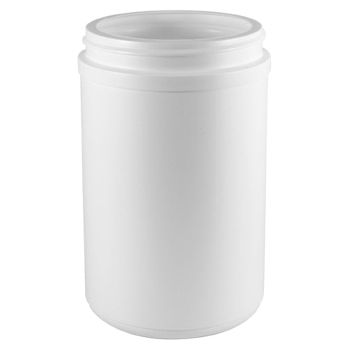 30 oz. White HDPE Plastic Wide-Mouth Jar (89-400)