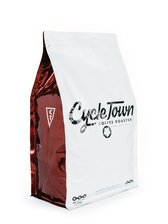 Cycle Town Coffee Roasters 5 LB. Bag Front & Side View