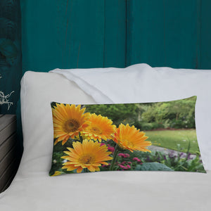 Gerbera Daisies Premium Pillow with Orange Back