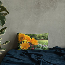 Load image into Gallery viewer, Gerbera Daisies Premium Pillow with Orange Back