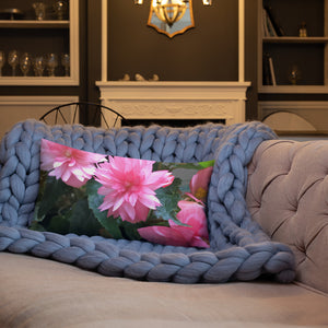 Funky Pink Begonia Premium Pillow with Pink Back
