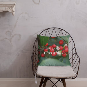 "Holly Berries  ""Merry Christmas""  Premium Pillow with Red Back"
