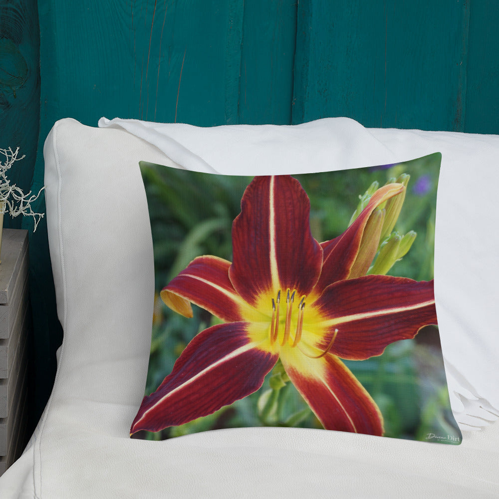 Daylily Premium Pillow with White Back