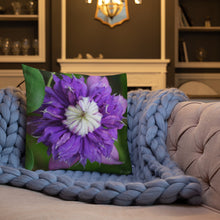 Load image into Gallery viewer, Clematis Premium Pillow with White Back