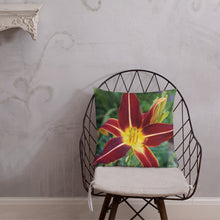 Load image into Gallery viewer, Daylily Premium Pillow with White Back