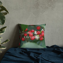 "Load image into Gallery viewer, Holly Berries  ""Merry Christmas""  Premium Pillow with Red Back"