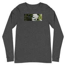 "Load image into Gallery viewer, Agapanthus-Indigo Frost. ""Immerse yourself in silence"".  Unisex Long Sleeve Tee"