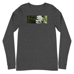 "Agapanthus-Indigo Frost. ""Immerse yourself in silence"".  Unisex Long Sleeve Tee"