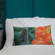 Load image into Gallery viewer, Dwarf Canna 'Picasso' Premium Pillow with White Back