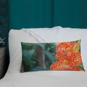Dwarf Canna 'Picasso' Premium Pillow with White Back