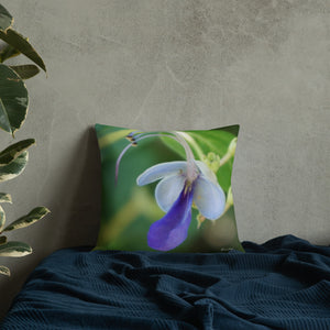 Butterfly Bush Clerodendrum Premium Pillow with Green Back