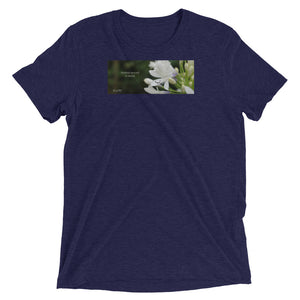 "Agapanthus-Indigo Frost.  ""Immerse yourself in silence"". Short sleeve t-shirt"